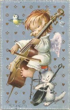 Christmas Scenes, Christmas Angels, Vintage Christmas Cards, Vintage Cards, Cute Kids Pics, Music Crafts, Christmas Illustration, Sacred Art, Illustrations