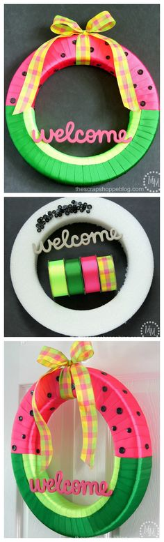 DIY Watermelon Wreath ~ Simple, vibrant and fun wreath!