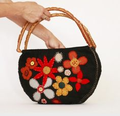 HandBagFlower Felt  100 percent Felt. . black felt by AnnaLela