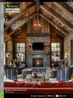 Rustic Timber Frame Homes . Rustic Timber Frame Homes . Handcrafted Timber Frame Home with astonishing Rocky Timber Frame Homes, Timber House, Timber Frames, Timber Cabin, Rustic Home Interiors, Rustic Home Design, Rustic Decor, Home Fireplace, Fireplace Ideas