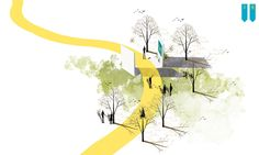 """Prize in """"Left Waterfront in Toruń"""" SARPCompetition on Behance Conceptual Model Architecture, Conceptual Sketches, Landscape Architecture Drawing, Architecture Concept Drawings, Pavilion Architecture, Architecture Collage, Landscape Concept, Architecture Graphics, Architecture Design"""