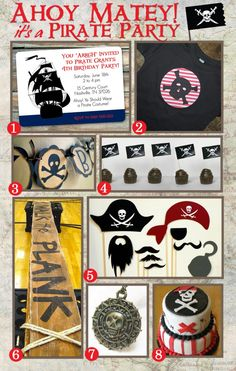 Pirate party inspiration from www.simplyswanky.com.  Includes free printables!
