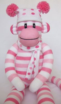 Cute Pink Candy Stripe Sock Monkey made to order by Sunsetgirl
