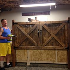 Barn door headboard, king size bed