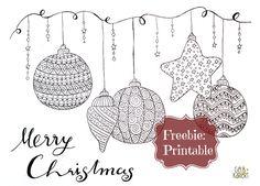 Weihnachten   Merry Cristmas   Doodle Printable   Freebie   Ausmalen für Erwachsene   Entspannung für Weihnachten   Gelbkariert Blog