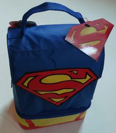 NEW Thermos Insulated Superman Dual Compartment School Lunch Kit Box Bag w/ Cape