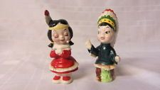 Vintage Native American Indian Salt and Pepper Shakers AQuality Japan Used
