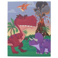 Cute Dinosaur Jungle Scene Jigsaw Puzzle