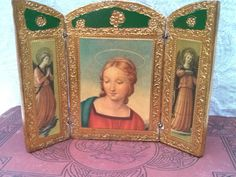 Small Triptych Blessed Virgin Mary Icon Gilt Italian by VinLizzy