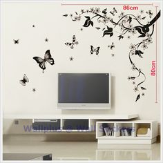 Wall Art Stickers | floral tree wall stickers removable vinyl wall sticker mural decal art ...  I don't like the butterflies, but the branches have a movement I like