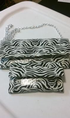 Zebra ducktape purse and wallet