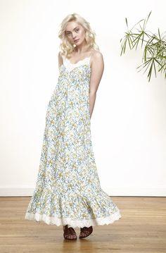41c37ac3241 Robe longue à motif floral et dentelle imprime - robes femme