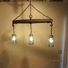 Rustic Handmade 3 Bulb Hanging Light Fixture by TreasuredSalvage, $210.00