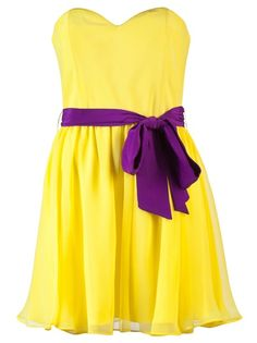 Yellow and purple dress. possible Bridesmaid dress? If it was longer and had sleeves?