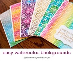 Easy Watercolor Backgrounds Video by Jennifer McGuire Ink