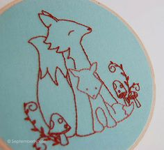 Mother and Baby Fox Embroidery Pattern