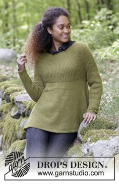 Evergreen - Knitted jumper with round yoke, English rib and A-shape, worked top down. Sizes S - XXXL. The piece is worked in DROPS Alpaca. Free knitted pattern DROPS 180-11