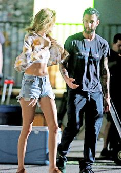 die-fabelhaften: Adam Levine and his wife Behati Prinsloo on set of a Maroon 5 music video in Los Angeles, California on August 29, 2014.