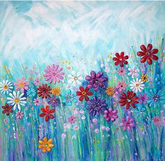 Meadow floral abstract mixed media original by BenDyerOriginalArt