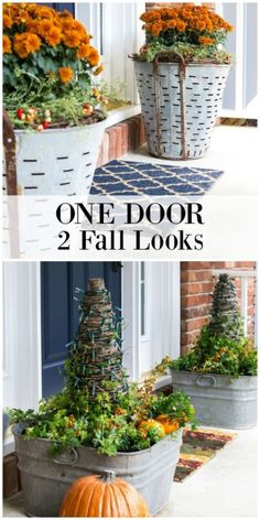 Easy Fall Planter Ideas | Inspiration for adding fall colors to your entrance with examples and sources. #Sponsored