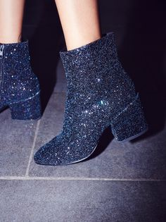 Glimmer Ankle Boot | Sparkle and shine in this ultra cool ankle boot with shimmering glitter accents allover. Chunky block heel for a cute and comfortable step. Side zipper closure creates an easy on-off.