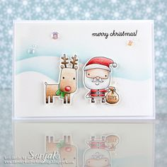 "Weihnachtskarte | Christmas card - Reverse Confetti ""Jolly Holiday"", Pretty Pink Posh ""Sparkling Clear"" sequins, Caran d'Ache ""Luminance"", Distress Inks"