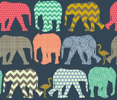 baby elephants and flamingos fabric by scrummy on Spoonflower - custom fabric, wallpaper & giftwrap