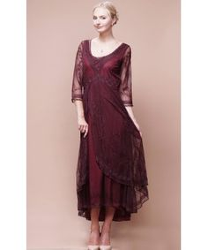 Downton Abbey Tea Party Gown in Ruby by Nataya