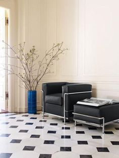 LC2 Chair & Ottoman by Le Corbusier, Cassina.