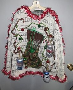 Hilarious Hillbilly Beer Can Decorations Ugly Christmas Sweater Mens L Oversize   eBay