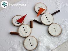 Sněhulák z dřevěných plátků - skládačka, didaktická hračka