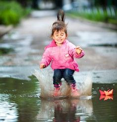 happy little girl, wearing a pink jacket, jumps into a puddle - stock photo Toulouse, Winter Activities, Activities For Kids, Activity Ideas, Funny Babies, Cute Babies, Brave Kids, Strong Willed Child, Baby E
