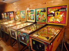 70s old pinball machines - would be very cool to have one in the new kitchen area