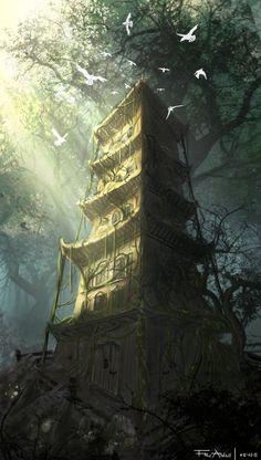 The old forest watchers house, Frej Agelii on ArtStation at https://www.artstation.com/artwork/the-old-forest-watchers-house