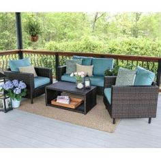 Draper 4-Piece Wicker Patio Conversation Set with Blue Cushions 104962-BLU at The Home Depot - Mobile