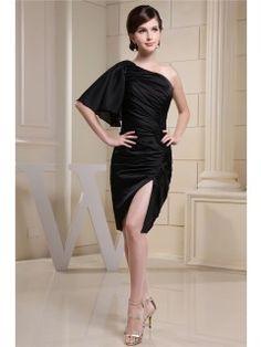 Sheath/Column Knee-length One shoulder Ruching Side-Draped #Dress