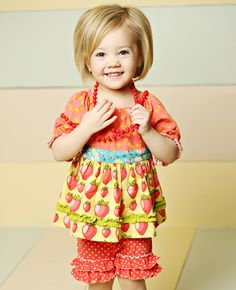 #matildajaneclothing #MJCdreamcloset What girl doesn't love strawberries? :) and love the little girls bob!