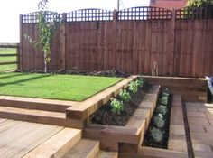 Garden Retaining Wall Ideas Wooden Garden Sleepers Yes Or No To Railway Sleepers In The Pict Garden Steps, Garden Bed, Home And Garden, Pine Garden, Eco Garden, Garden Walls, Garden Path, Garden Planters, Garden Retaining Wall