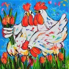 Vrolijk Schilderij Kippen met tulpen