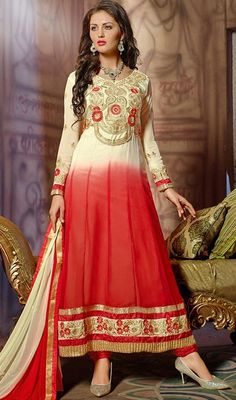 Create an essence of beauty dressed up in this cream and red embroidered georgette long Anarkali suit. The butta, floral patch, lace and resham work seems to be chic and fantastic for any function.  #LongLengthAnarkaliDresses