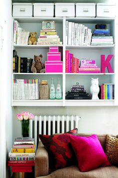 Hang a bookshelf. Make the most of vertical height by installing a bookshelf that goes up to the ceiling. The area above the radiator that wo...