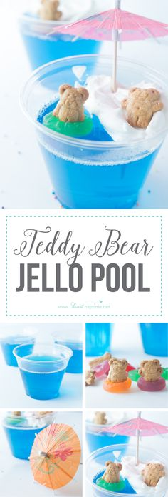 Teddy Bear Jello Pool… these little guys make a great summer treat! Refreshing Jello and a dollop of whipped cream make for a yummy treat everyone will love! Pool Snacks, School Treats, Birthday Treats For School, Birthday Ideas, Preschool Birthday Treats, Healthy Birthday, Birthday Snacks, Bear Cookies, Summer Treats