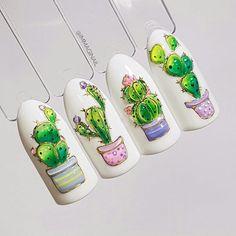 Newest Cactus Nails Art 2020 - isishweshwe Cute Nail Art, Cute Acrylic Nails, Acrylic Nail Designs, Cute Nails, Pretty Nails, Nail Art Designs, Spring Nails, Summer Nails, Nail Manicure