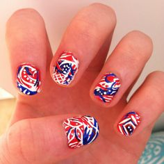 Red, white, and blue themed nails for 4th of July