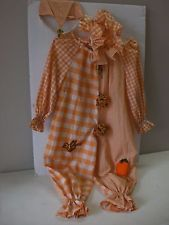 Vintage Handmade CLOWN Jester ORANGE and  Suit Costume Child Harlequin Kid Youth