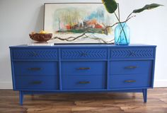 Mid Century Modern Dresser / TV Console / Credenza in Sapphire Blue and Bronze Hardware. Love everything in this arrangement. Decor, Mid Century Furniture, Painted Furniture, Dresser With Tv, Mid Century Modern Furniture, Selling Furniture, Blue Room Decor, Mid Century Modern Dresser, Blue Furniture Inspiration