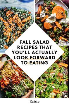 Sick of having the same old Caesar every afternoon? Enter 25 creative fall salad recipes you'll actually look forward to making (and eating). #fall #salad #recipes Fall Salad, Summer Pasta Salad, Healthy Salad Recipes, Healthy Food, Healthy Cooking, Easy Dinner Recipes, Fall Recipes, Indian Salads, Spiced Cauliflower