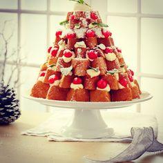 Pandoro Christmas Tree Cake, slice, squirty cream and berries