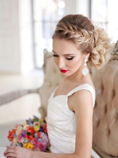 braided wedding hairstyle for long hair - Deer Pearl Flowers