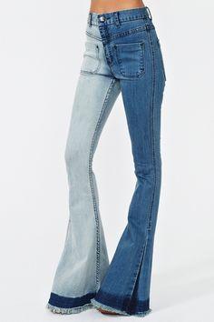 Nasty Gal two tone flare jeans Twiggy, Jeans Délavés, Jean À Taille Haute, fe523a3b8c78